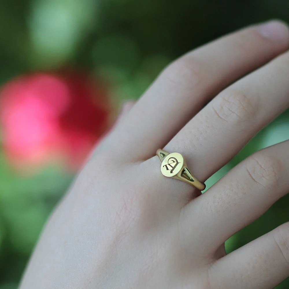 Initial Ring Personalized Signet Ring Gold Signet Custom image 2