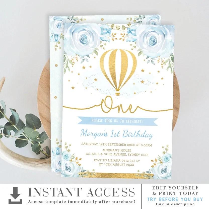 hot air balloon 1st birthday invitation