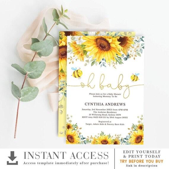 Honey Bee Sunflower Baby Shower Invitation Summer Yellow