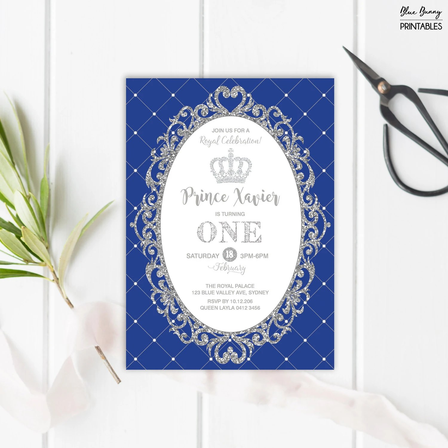 royal prince first birthday invitation