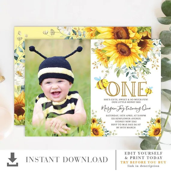 honey bee 1st birthday invitation