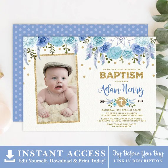 editable blue floral baptism invitation