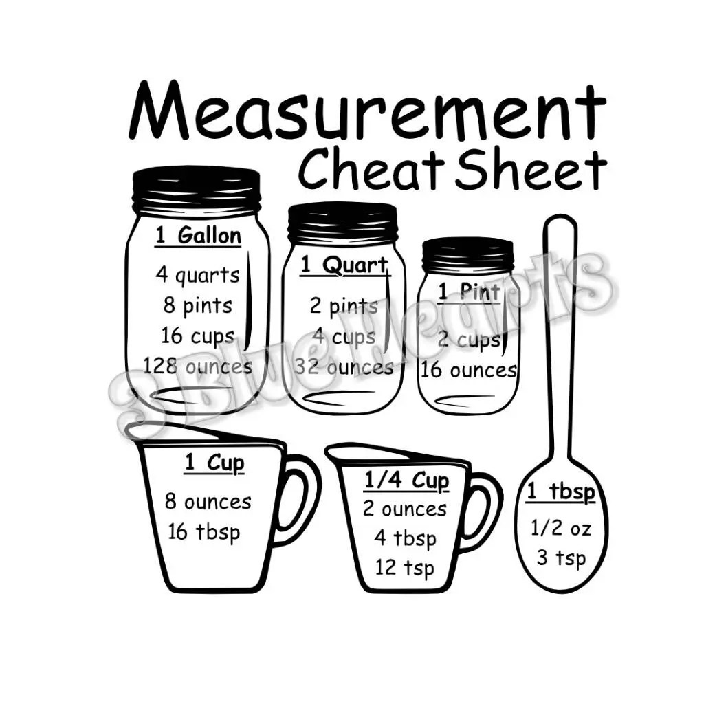 Measurement Cheat Sheet Svg Studio Dxf Cutting Board