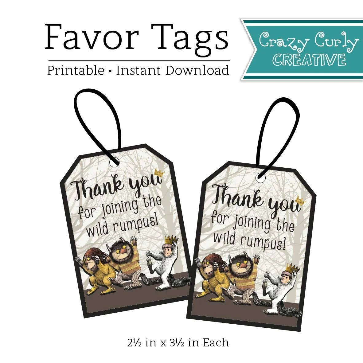 Where The Wild Things Are Birthday Party Favor Tags Wild Etsy