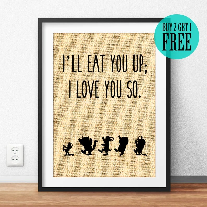 Download I'll Eat You Up I Love You So Burlap Print Rustic Home   Etsy