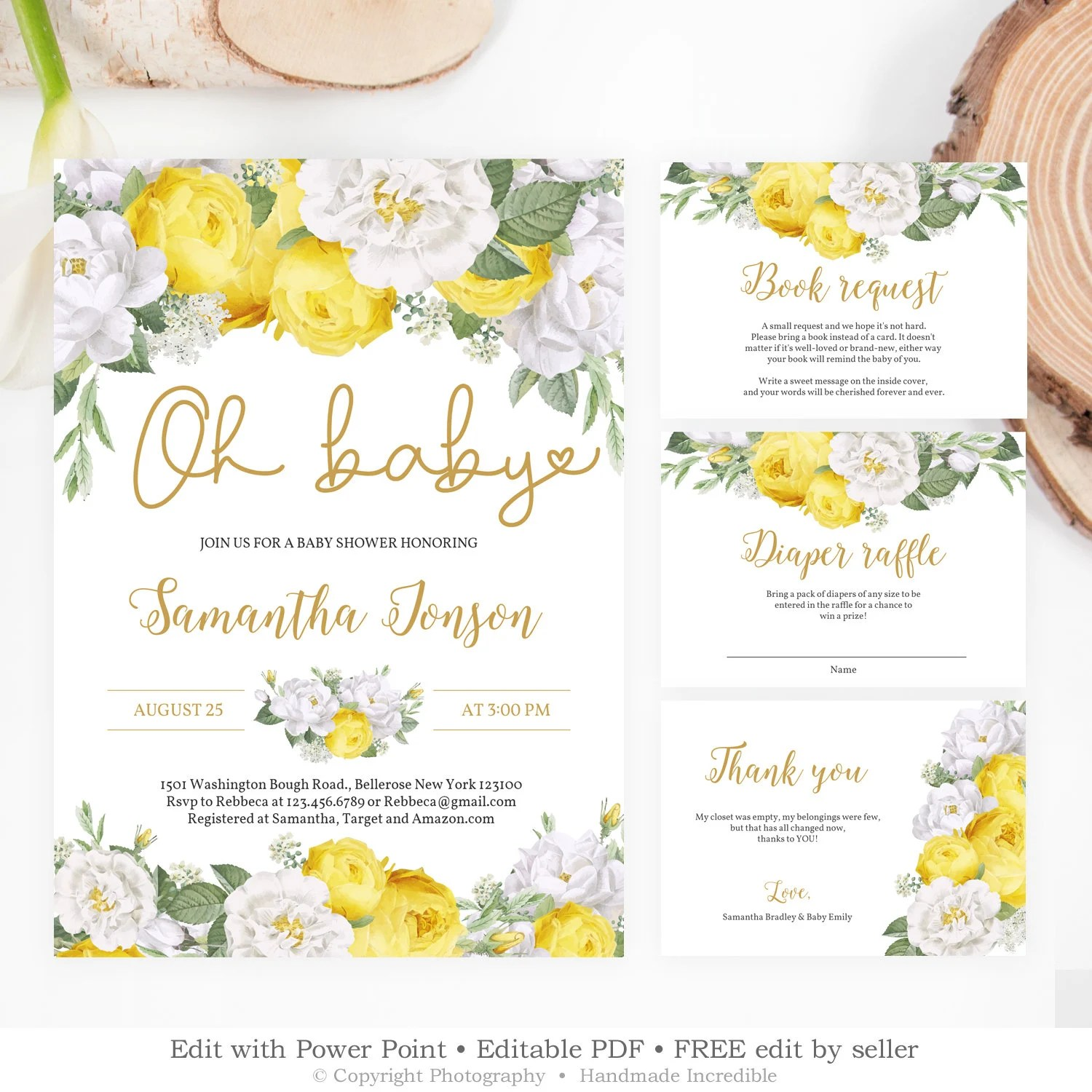 Yellow And White Baby Shower Invitation Templates