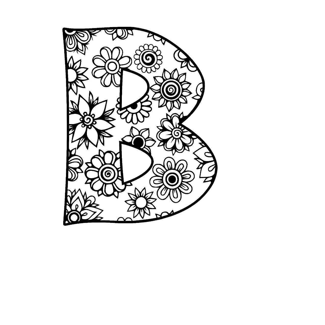 Letter B Alphabet Flowers Svg Use With