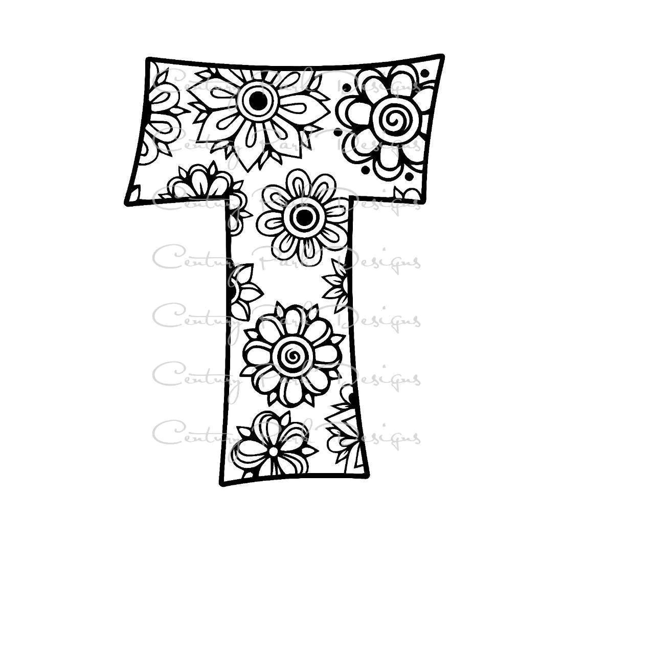 Letter T Alphabet Flowers Svg Use With
