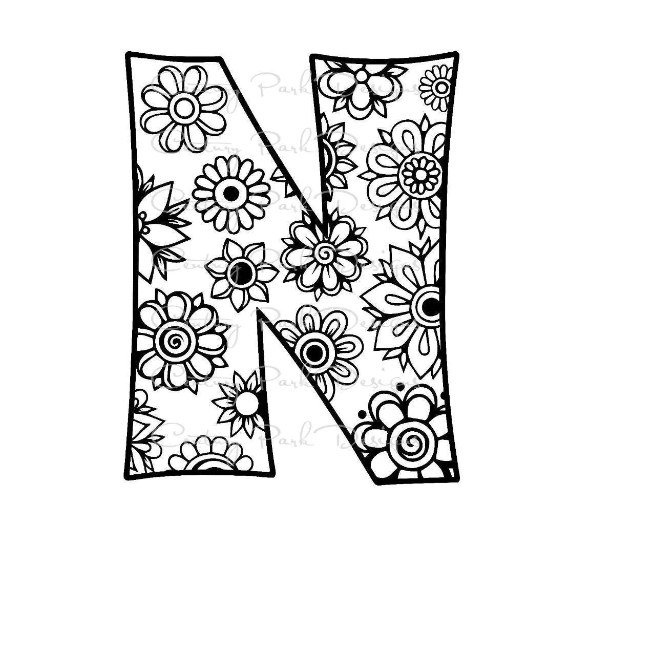 Letter N Alphabet Flowers Svg Use With