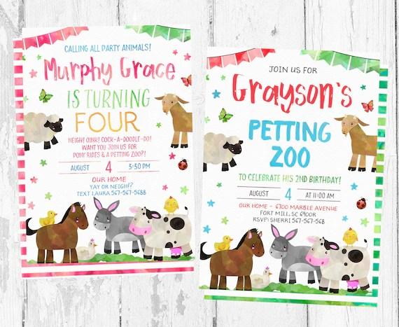Petting Zoo Birthday Invitation Petting Zoo Invitations Etsy