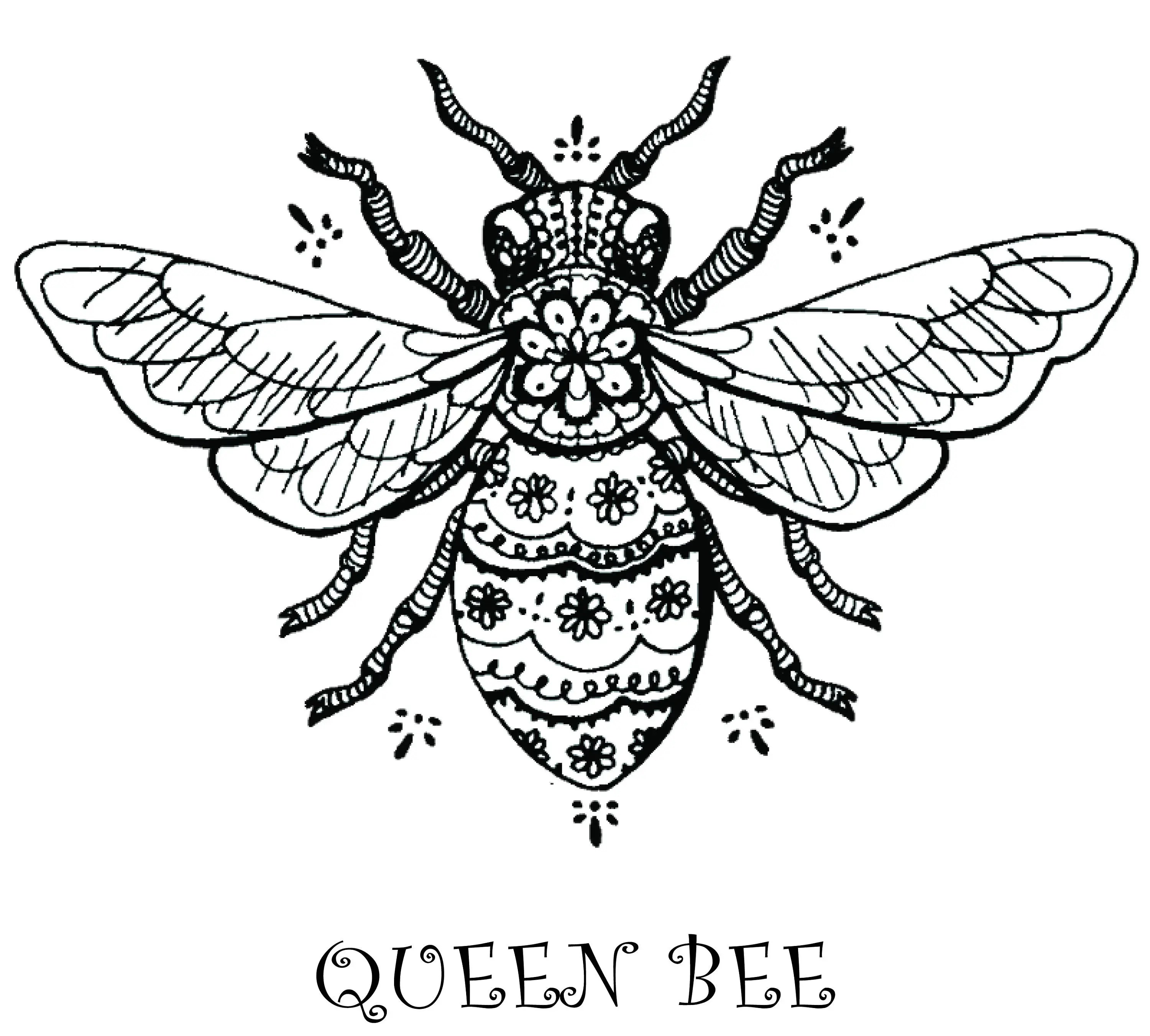 Printable Queen Bee Artwork Digital Download For Tattoo