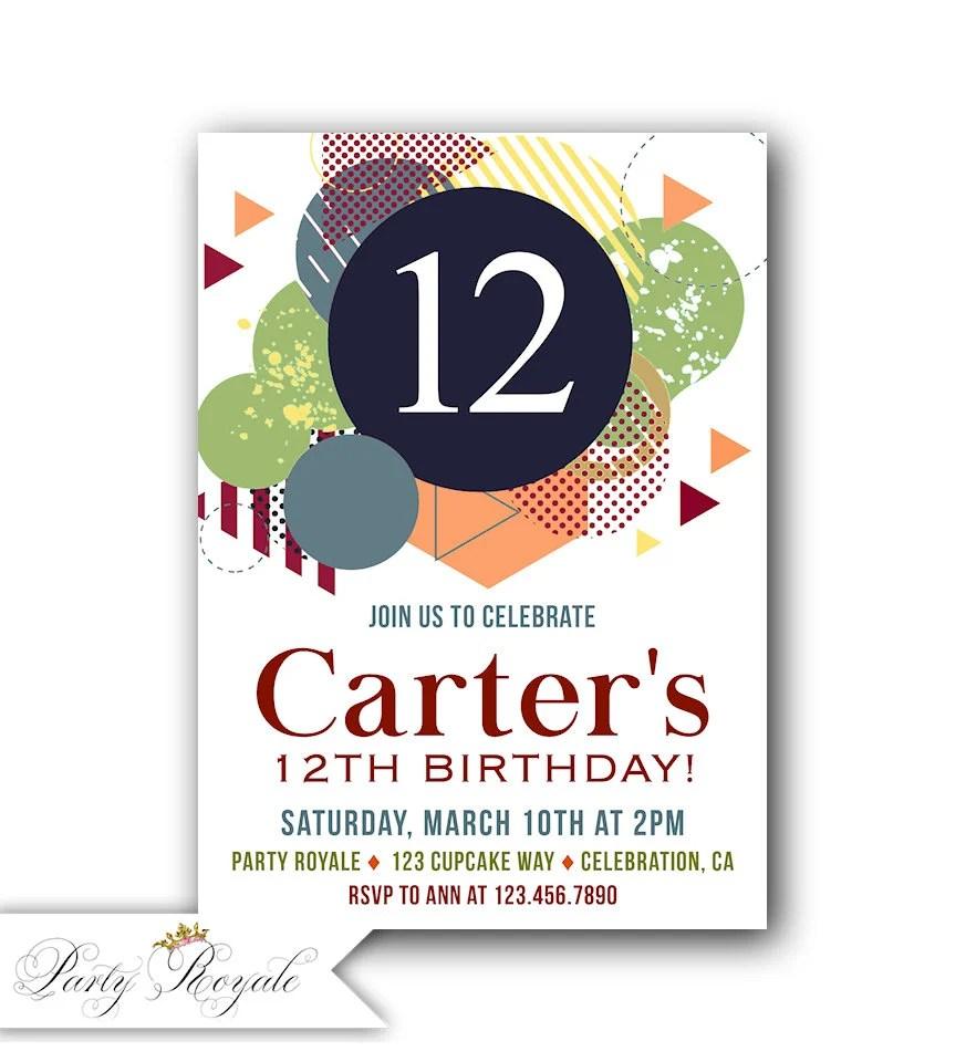 12th Birthday Invitation Boy 12th Birthday Invite Boys 12th Birthday Party Invitations Printable 12th Birthday Invites For A Boy