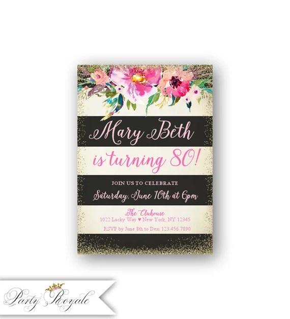 80esimo Compleanno Inviti Donne Acclamazioni A 80 Anni Adulti Inviti Di Compleanno Per Lei Sorpresa Compleanno Cena Brunch Pranzo