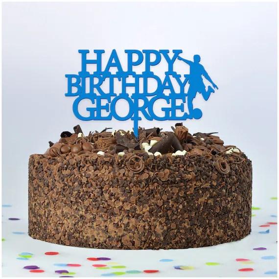 Boys Football Cake Topper Personalised Happy Birthday Etsy