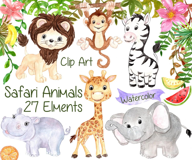 Watercolor Safari Clipart Safari Animals Clipart