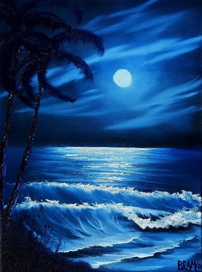 Bob Ross Style Original Oil Seascape Painting Moonlit Etsy