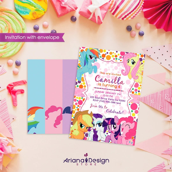 pony birthday invitation with envelope