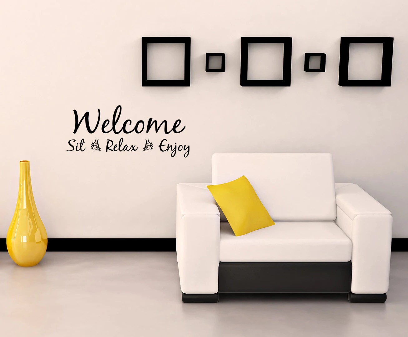 Welcome And Relax Wall Word Quote Decorative Vinyl Wall Art Decal Or Removable Sticker Inspirational Words Quote Living Room Bedroom 0027