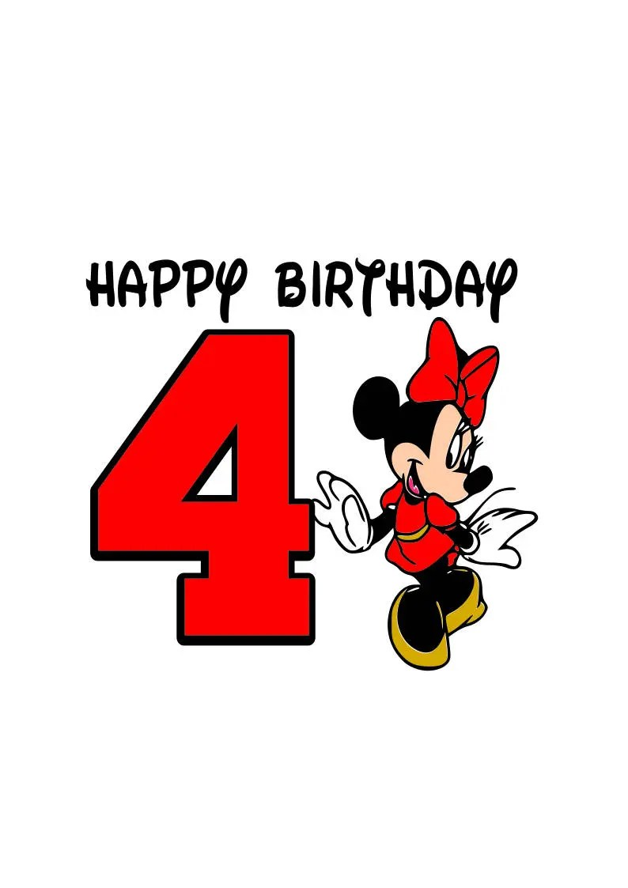 Minnie Mouse Happy Birthday Svg Happy Birthday 4 Year Old Etsy