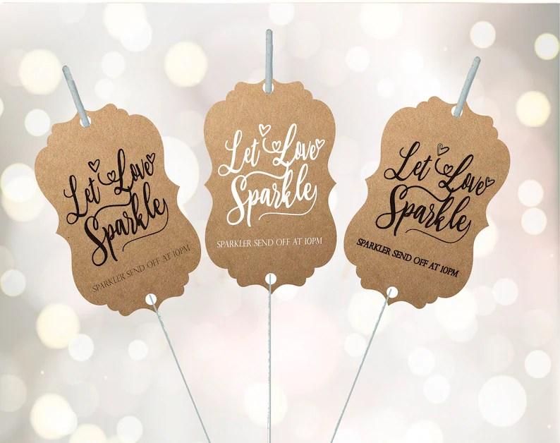 Download Sparkler tag Sparkler send off Let love Sparkle Wedding   Etsy