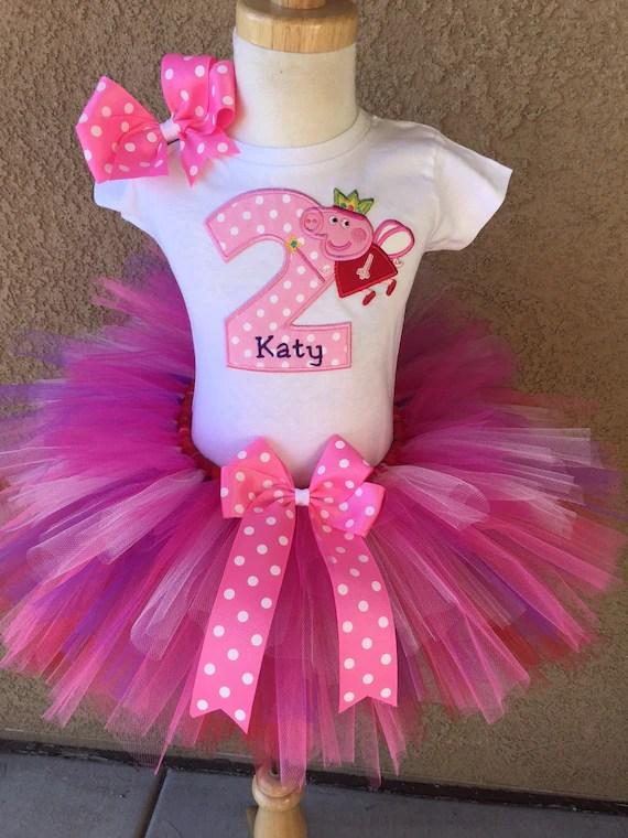 Peppa Pig Birthday Tutu Outfit Dress Set Handmade 1st 2nd 3rd Etsy
