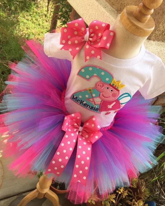 Peppa Pig Birthday Tutu Outfit Dress Set Handmade In Aqua Etsy