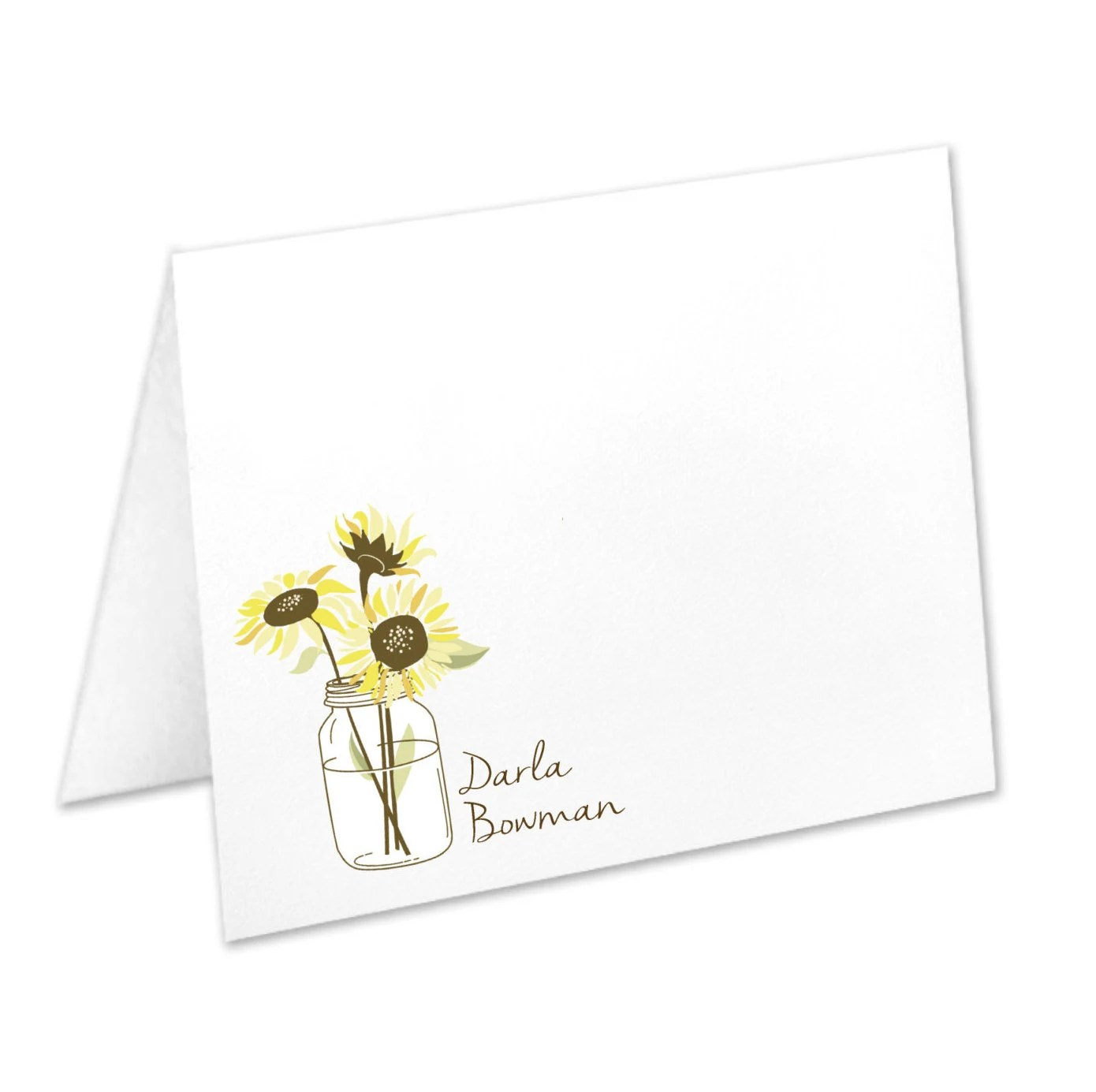 Personalized Sunflower Stationery Sunflower Note Cards