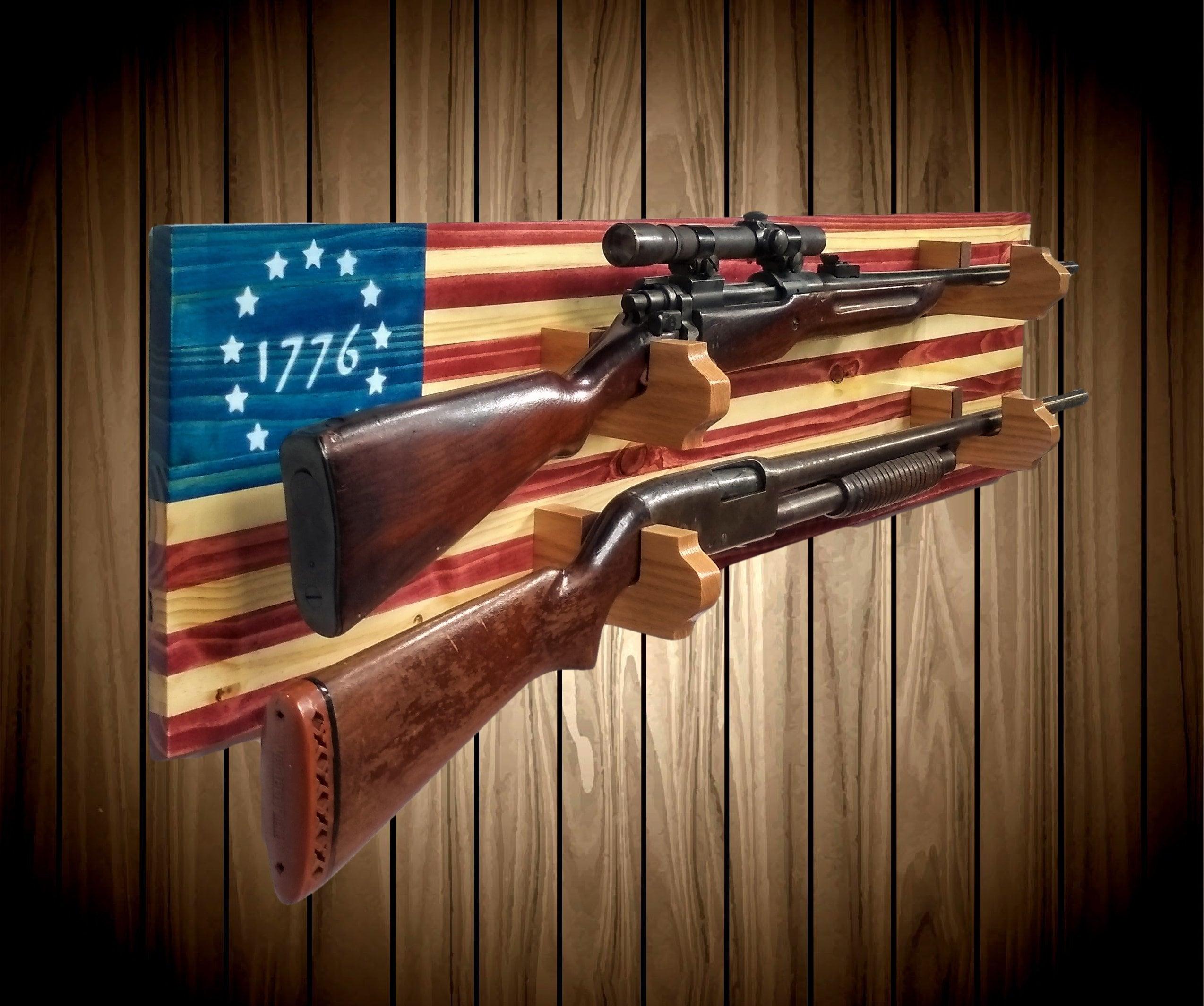 1776 american flag gun rack wall mount