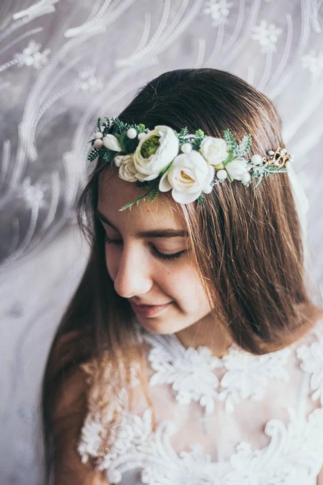 wedding hair accessories ivory flower hair crown greenery bridal hair accessories dried flower flower girl first communion bridal hair piece