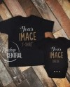 Matching Blank Black T Shirt And Baby One Piece Design Mockup Etsy