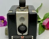 Kodak Brownie Hawkeye Flash Camera and Flash Vintage Box Camera
