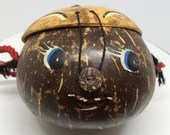 Coconut Shell Face Purse Small Lined Pig Tailed Head Pocket Book A Real Coconut Shell Tiki Luau Party Handbag Souvenir of the Islands