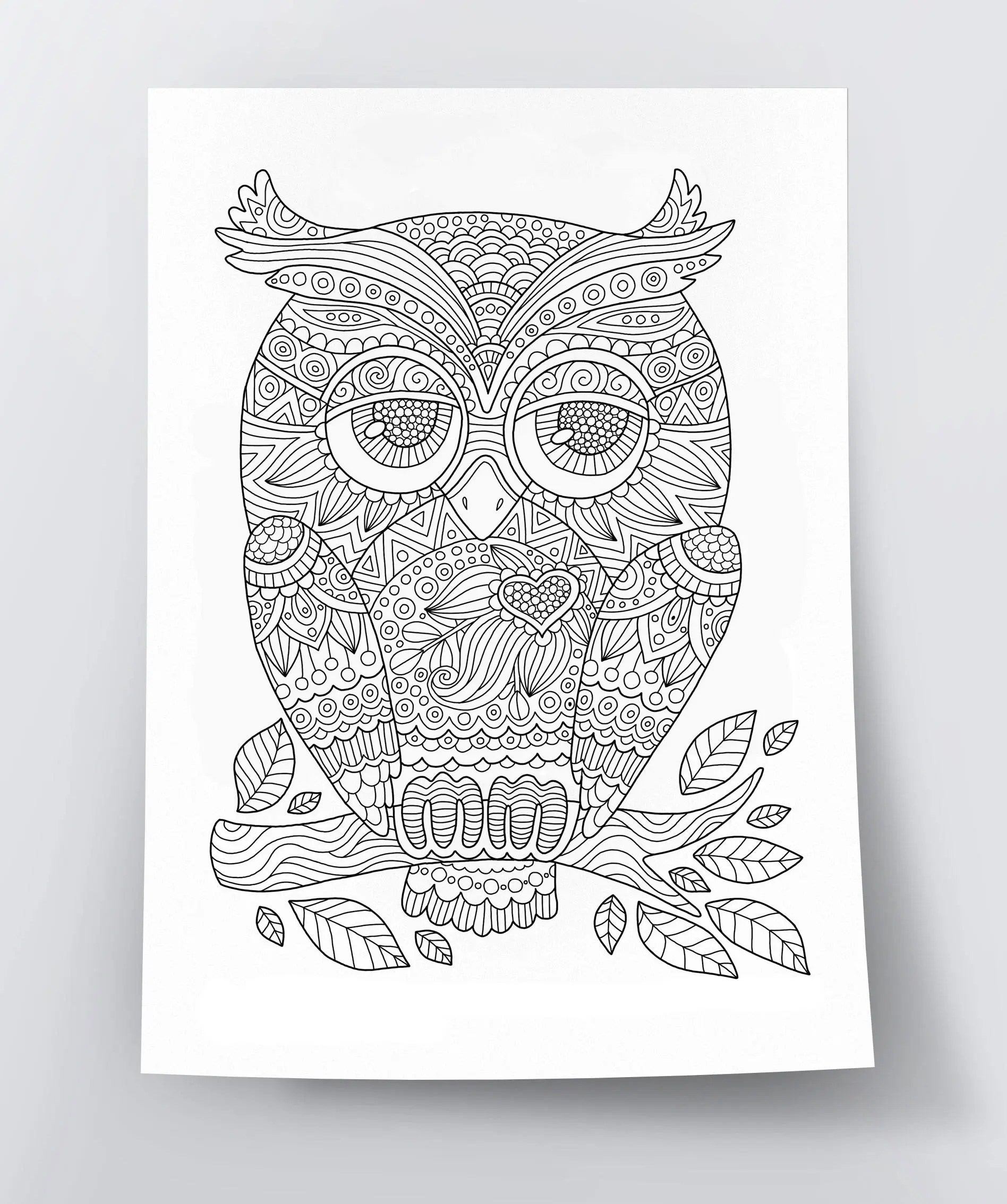 Adult Coloring Page Cute Owl Doodle Art Diy Coloring Etsy