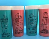Mid Century Funny Cocktail Glasses- Pink & Turquoise - Very Cool!