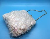 1960's White Sequined-Beaded Vintage Evening Bag