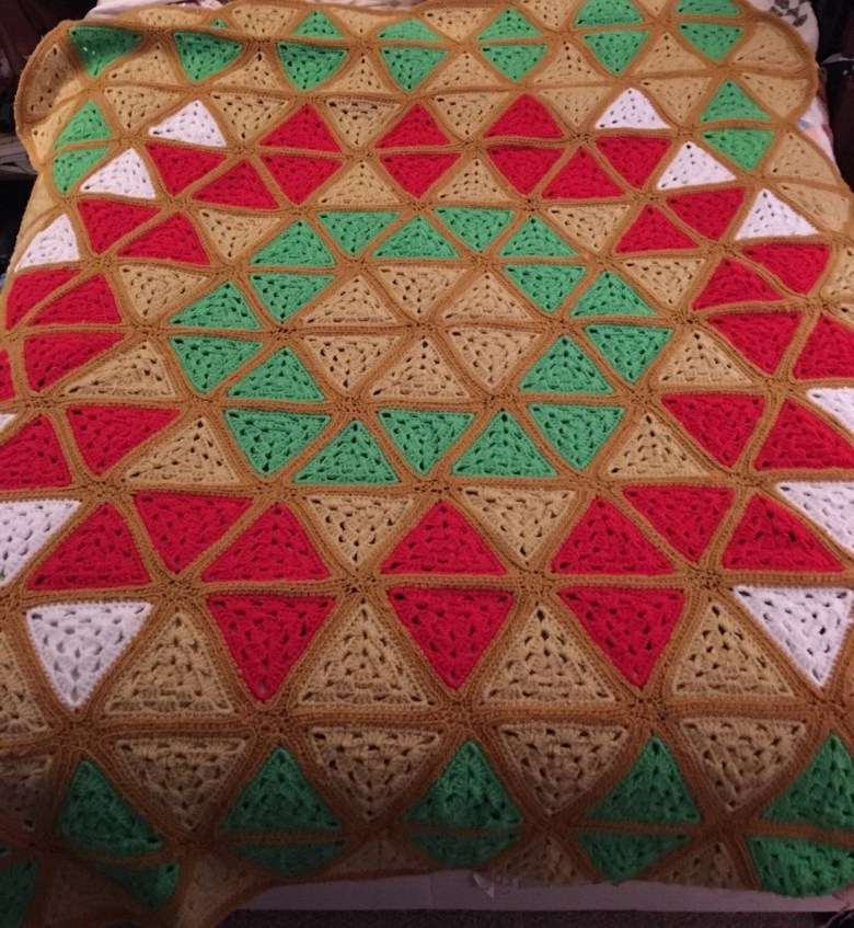 Afghan Blanket, Vintage, Crocheted 1970s-72x56 Inches