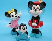 Disney Japan Vintage Figurines - Minnie Mouse - Baby Goofy