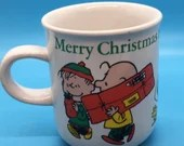 Charlie Brown - Snoopy - Peanuts Vintage Coffee Mug - Christmas 1976