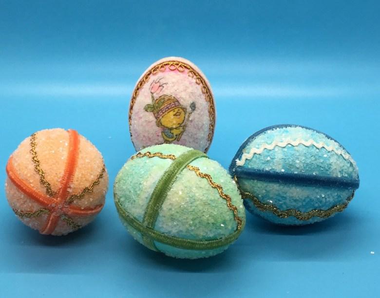 Handmade - Easter Eggs-Vintage-Glitter /Ric Rac-Set of 4