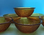 Amber Glass Vintage Berry Bowls