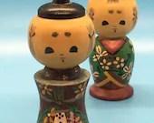 Wooden Vintage Kokeshi Doll Salt & Pepper Shakers
