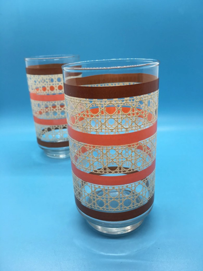 1970s /Libbey /Drinking Glasses /Pink /Brown/ Cane Pattern