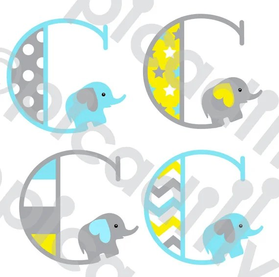 Download Items similar to Baby Boy Elephant Font SVG PNG Elephant ...