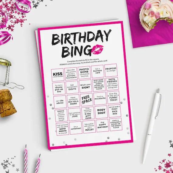 Fun Adult Birthday Game Birthday Bingo Scavenger Hunt Etsy