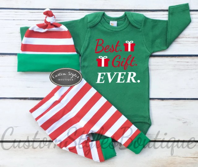 Baby Boys First Christmas Outfit Red And White Striped Leggings And Hat With Green Cuffsbaby Boys Christmas Outfit