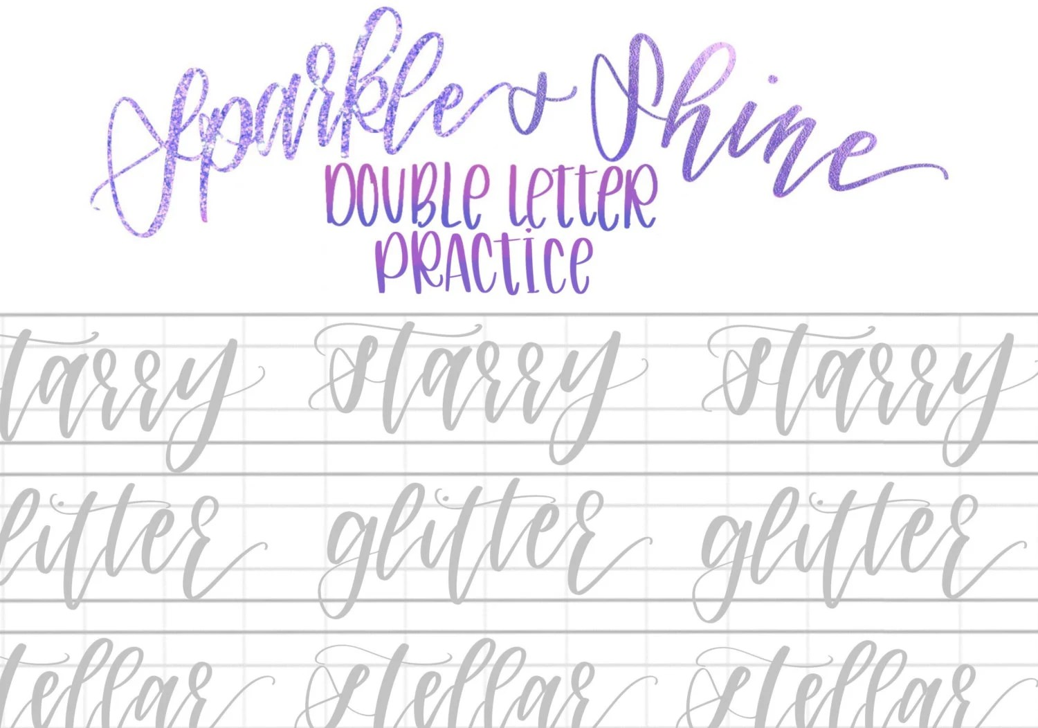 Hand Lettering Practice Sheets Sparkly Double Letter Words