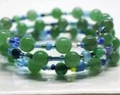 Aventurine gemstone bracelet, memory wire bracelet, bead soup bracelet