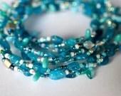 Apatite bead soup necklace in aqua colors