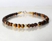 Tiger eye gemstone bracelet, yoga bracelet, stackable bracelet