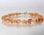 Peach moonstone bracelet, arm candy bracelet, stackable bracelet, friendship bracelet